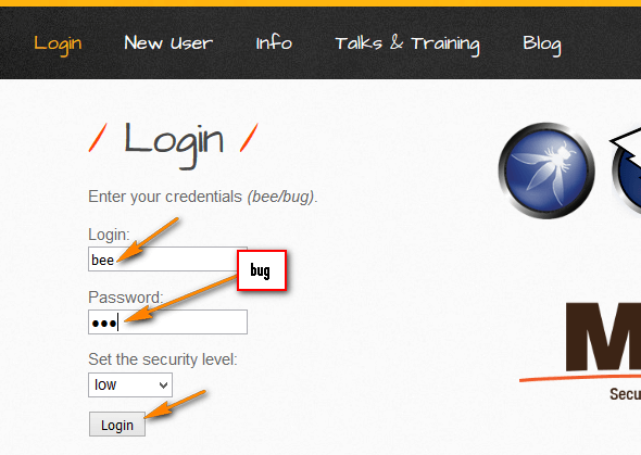 Security Testing - bWAPP application - Login Details