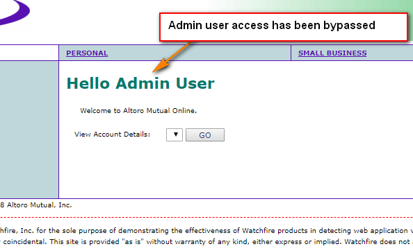SQL Injection - Admin Access Bypassed