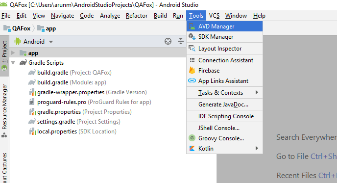 Appium - Android Studio - AVD Manager