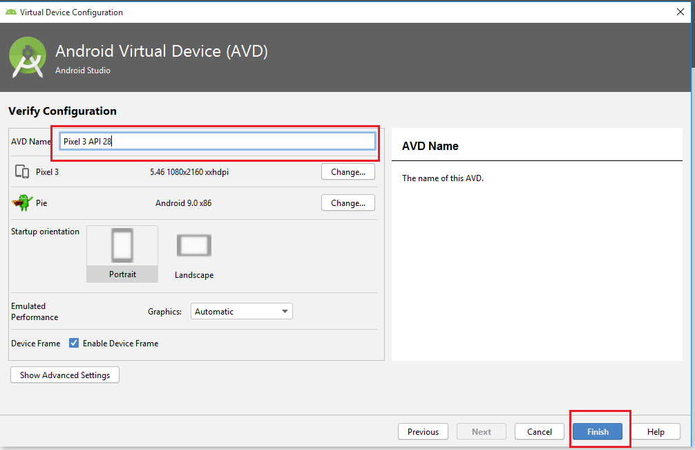 Appium - Android Studio - Emulator Creation - AVD Name