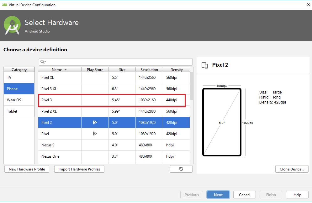 Appium - Android Studio - Select Hardware for Emulator
