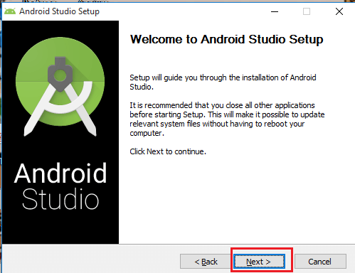 Appium - First Android Studio Installation Screen