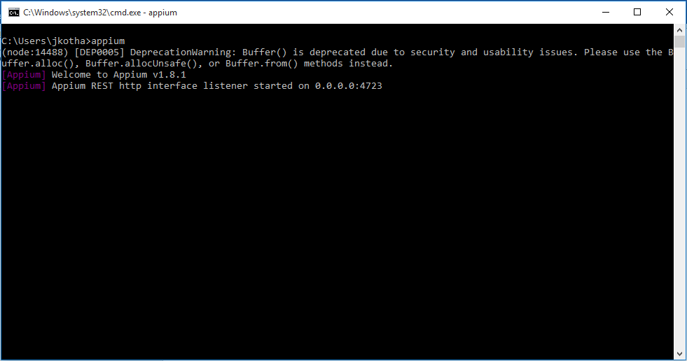 Appium Start Command line