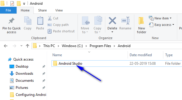 Appium - Android Studio Folder