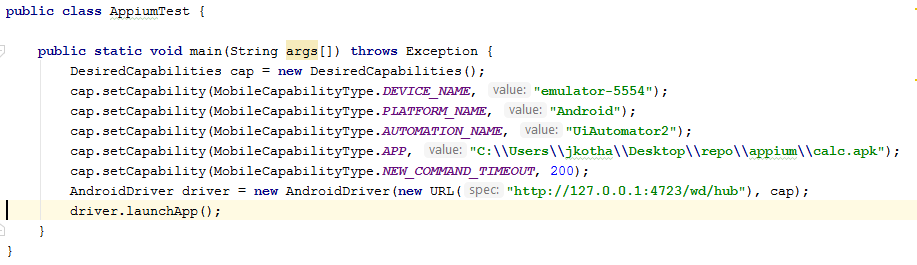 Appium Automation Code