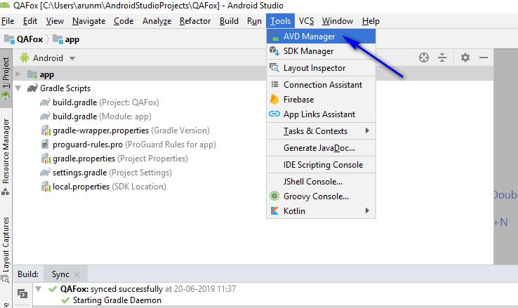 Appium - Configuring Emulator - AVD Manager