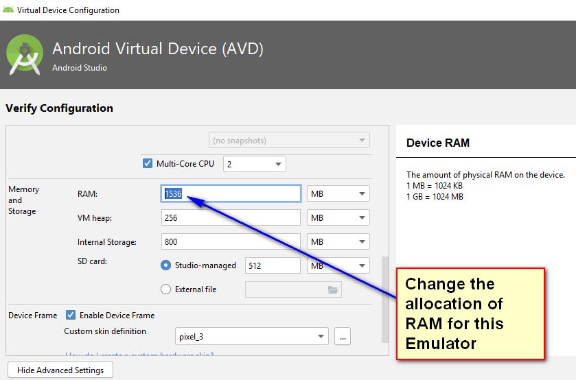 Appium - Configuring Emulator - Change RAM