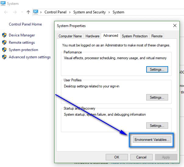 Appium - Java Configuration - Click Environment Vraibales Buttton