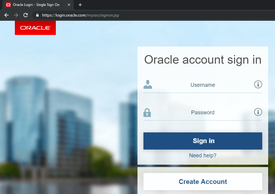 Appium - Java Download - Login to Oracle Account