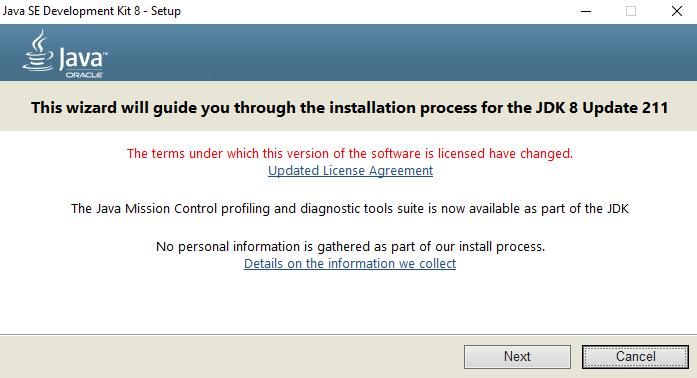 Appium - Java Installation Wizard - First Next