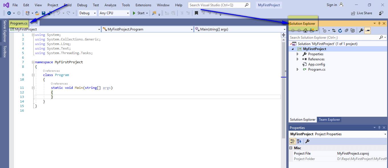C# for Selenium - Program cs Solution Explorer