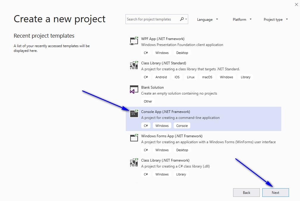 C# for Selenium - Visual Studio Select CSharp Console Template