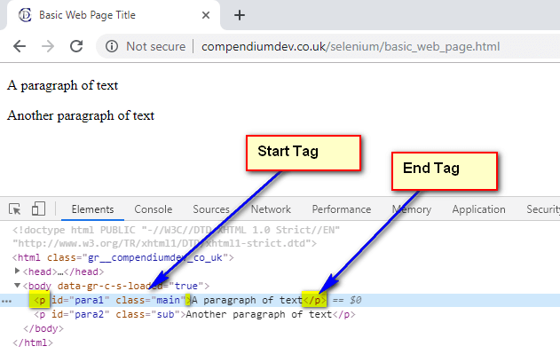 HTML Components - Start and End Tags