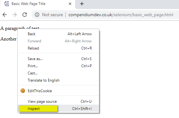 HTML Components - Web Page - Inspect Elements
