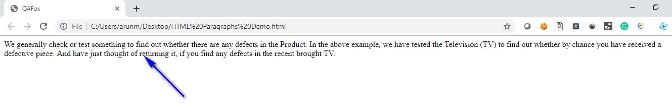 HTML for Selenium - Paragraph - Displayed
