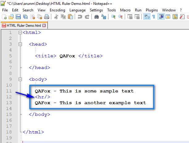 HTML for Selenium - Part 9 - hr Code