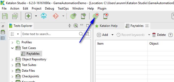 Katalon Studio - Automating Games - Web Recorder Option