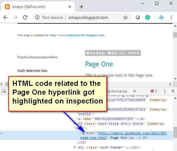 Locate using Link Text - HTML Code