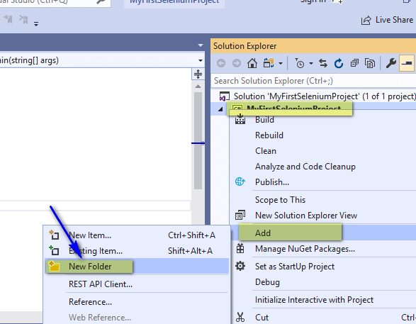 Selenium C# - Add New Folder