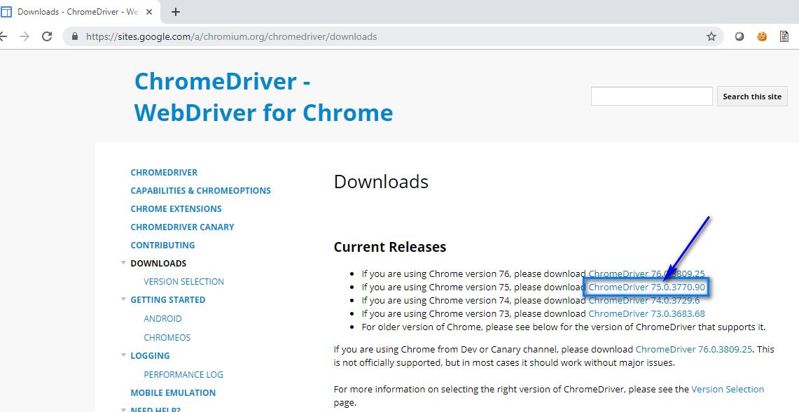 Selenium C# - Chrome Driver 75