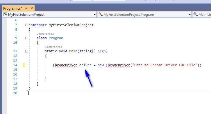Selenium C# - ChromeDriver Object Statement