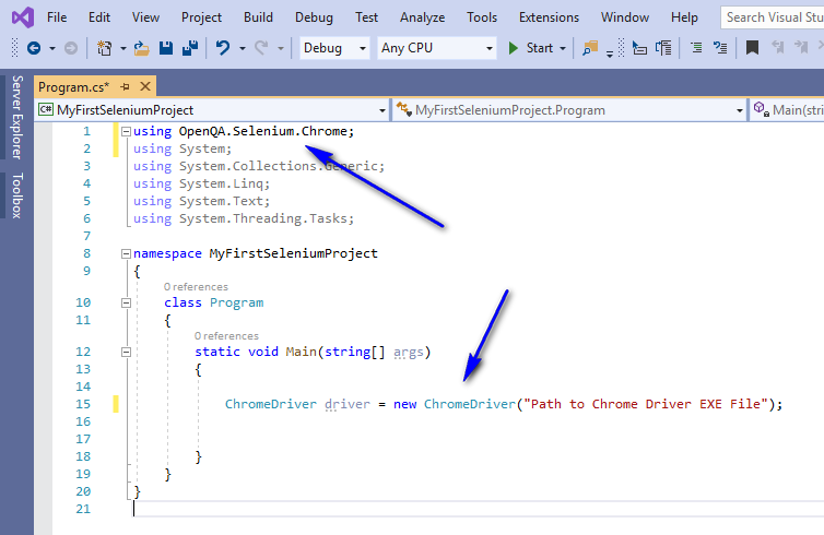 Selenium C# - Errors Resolved