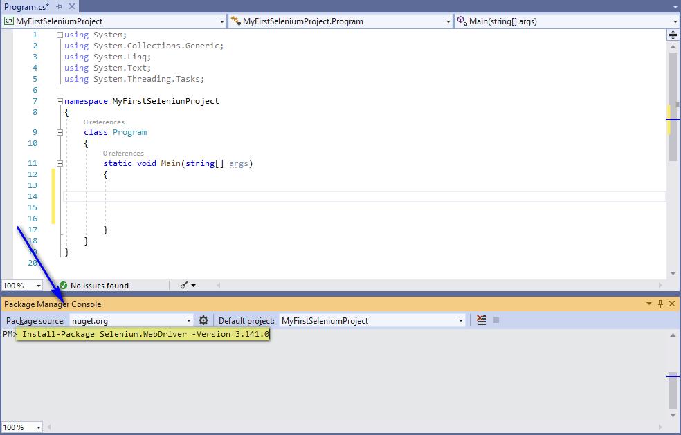 Selenium C# - Installing Selenium WebDriver