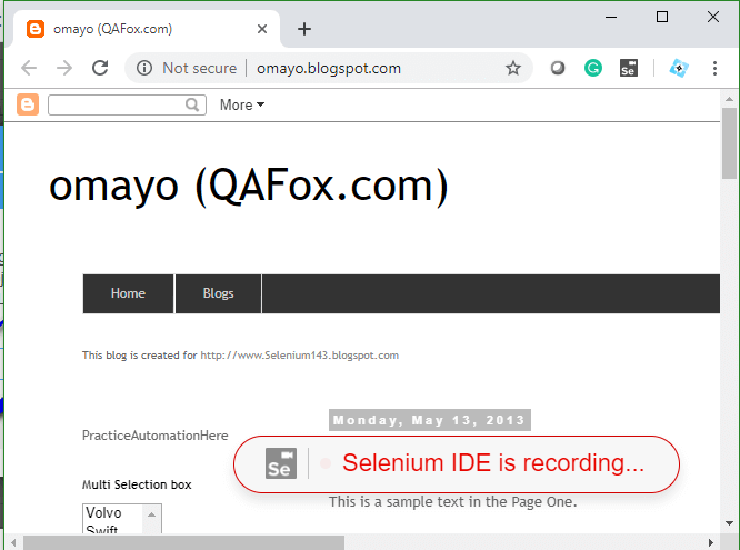 Selenium IDE - Base URL Opended with recording