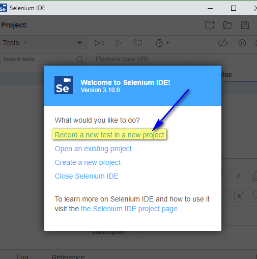 Selenium IDE - Record a new test in a new project