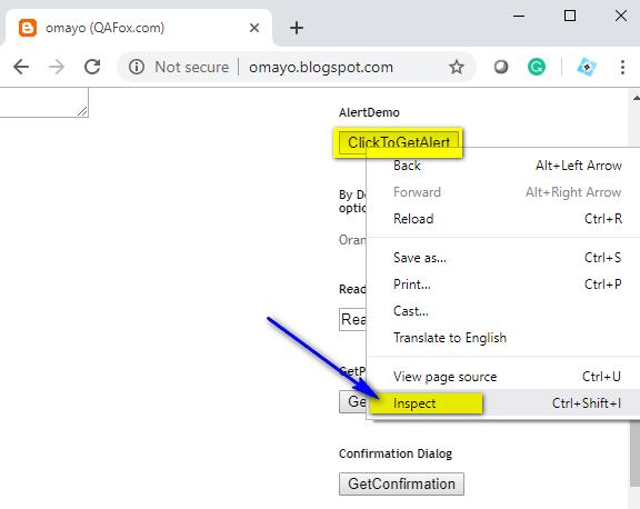 XPath Expressions Locators - Inspect