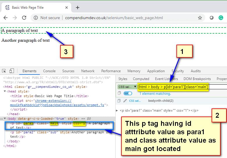 Absolute CSS Selectors - p para1 main