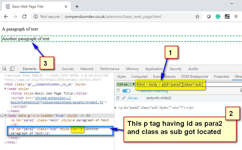Absolute CSS Selectors - p para2 sub