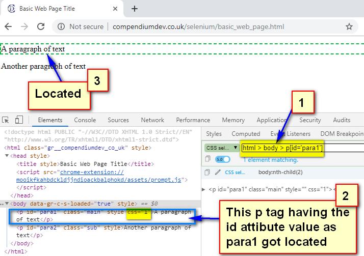 Absolute CSS Selectors - p tag having id as para1