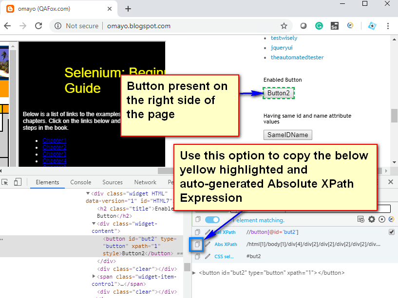 Absolute XPath Expressions - Right Side Button Copy XPath