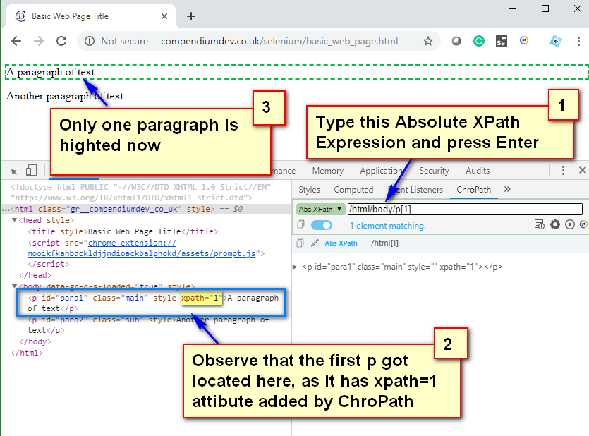 Absolute XPath - First P Tag Located