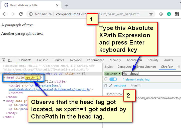 Absolute XPath - Head Tag Located