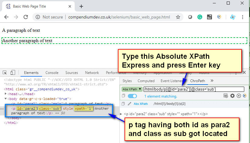 Absolute XPath - P Tag para2 and sub