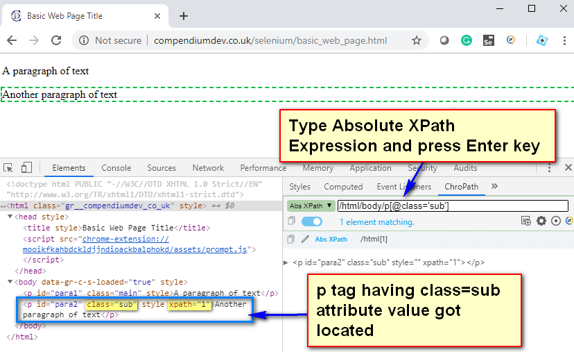 Absolute XPath - P Tag sub
