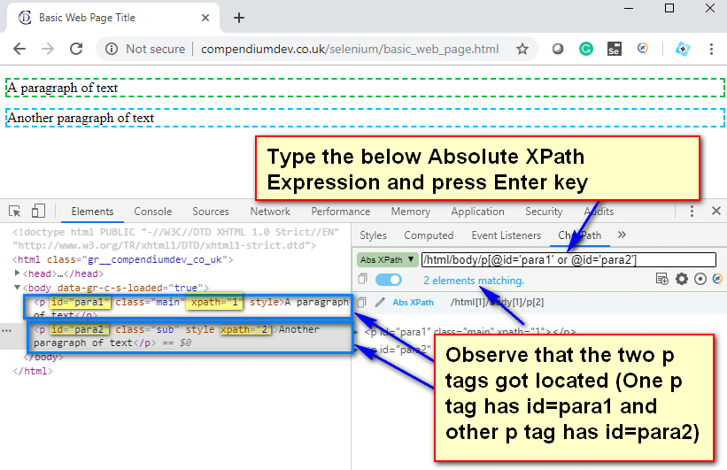 Absolute XPath - P Tags para 1 or 2