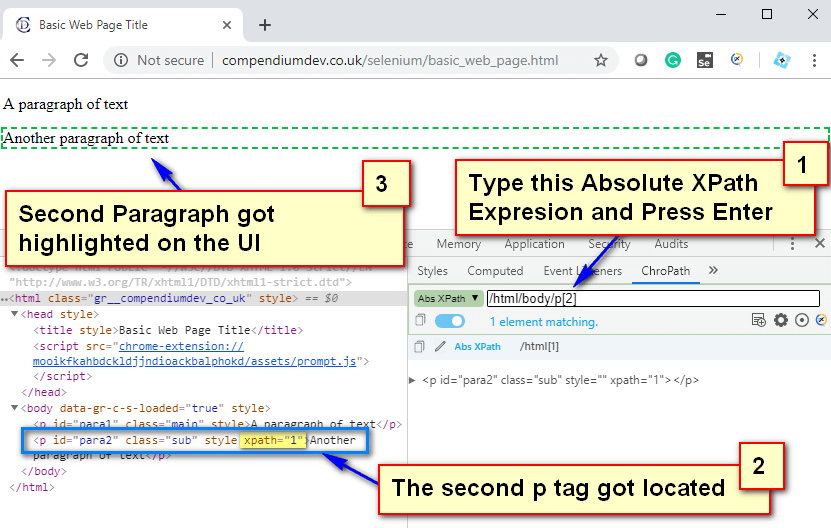 Absolute XPath - Second P Tag Located