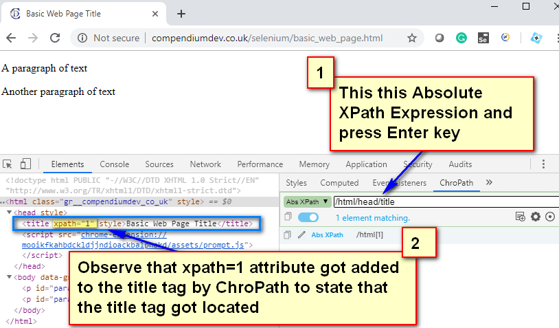 Absolute XPath - Title Tag Located