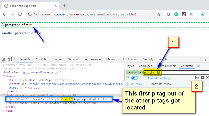 CSS Selectors - first p tag