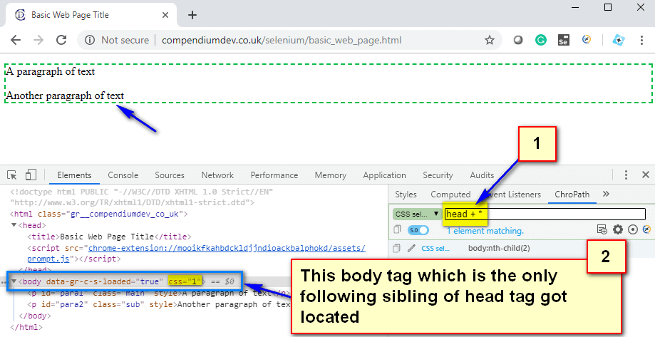 CSS Selectors - following sibling head