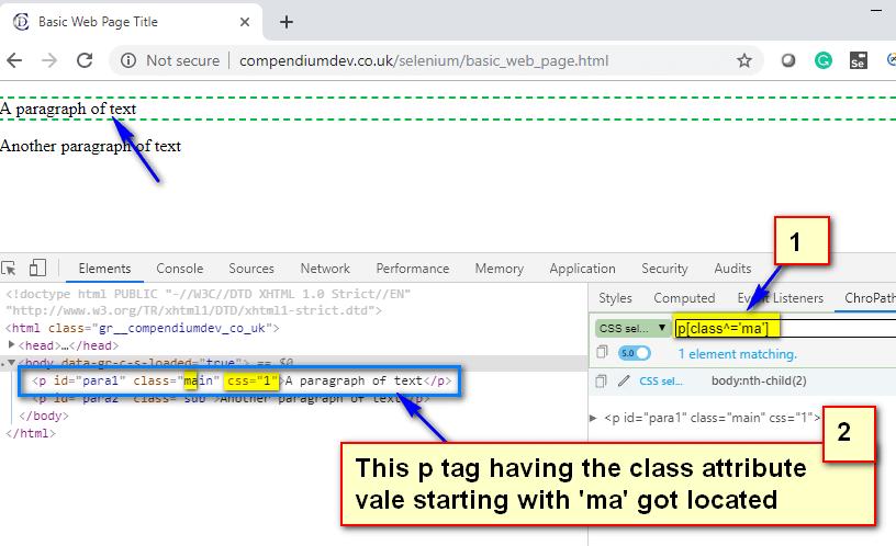 CSS Selectors - p cap ma