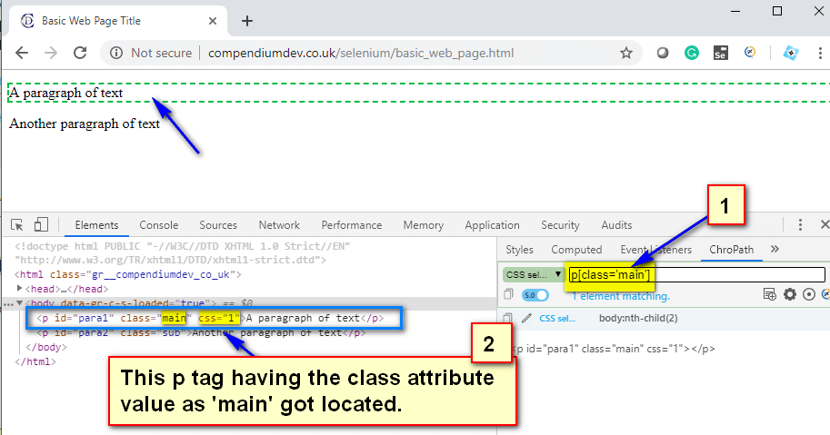 CSS Selectors - p main