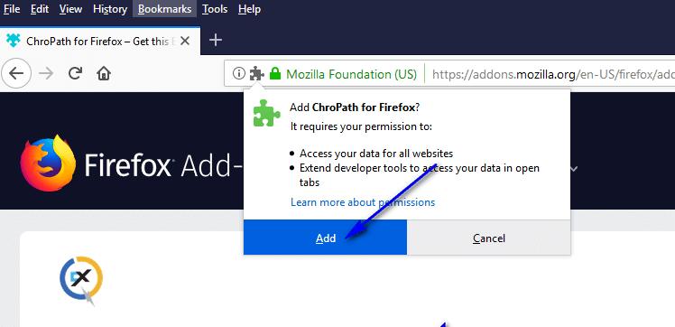 ChroPath Firefox Installation - Confirmation
