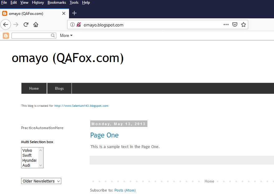 ChroPath Firefox Validation - Open Omayo