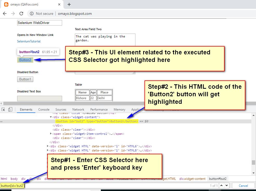 Default Chrome Dev Tools - CSS Selector