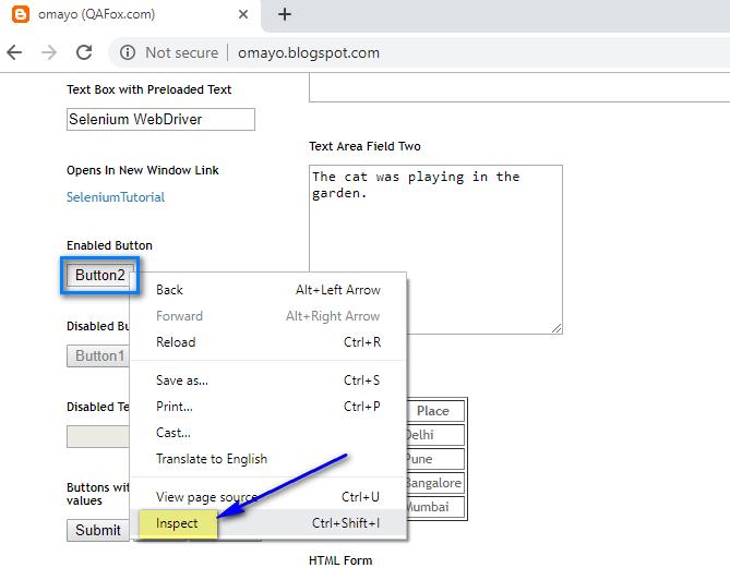 Default Chrome Dev Tools - Inspect Button