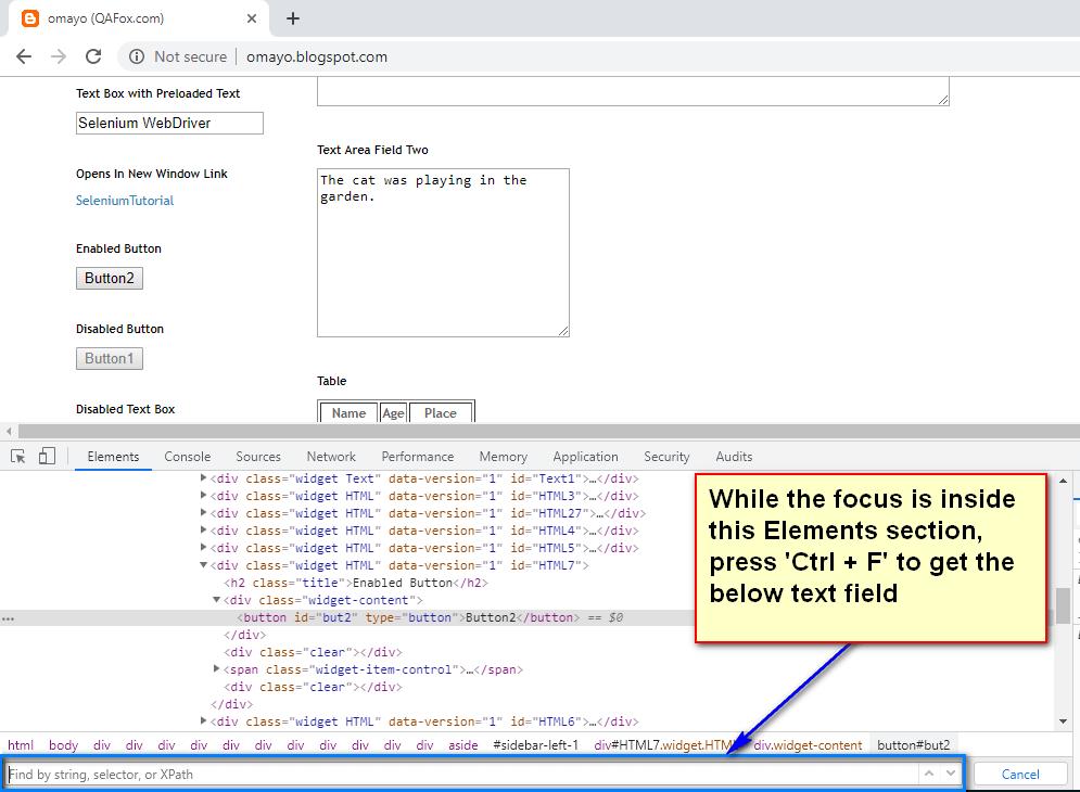 Default Chrome Dev Tools - text field